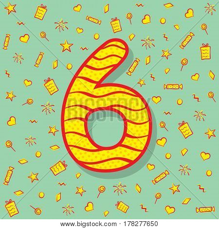 number six with different object like gift box star heartand different shape background design