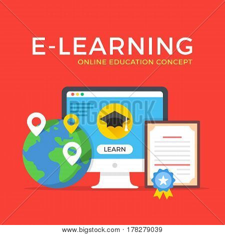 E-learning, online education, elearning, online courses concepts. Modern flat design graphic elements set for web banners, websites, infographics, printed materials. Vector illustration