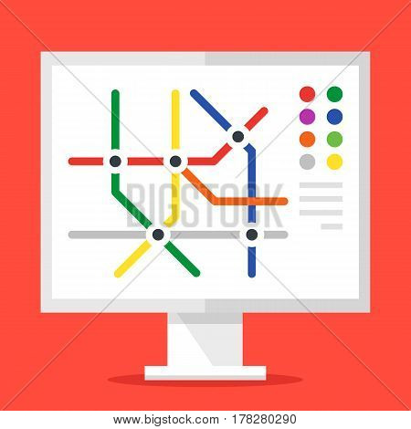 Information stand with subway map. Metro map concept. Modern flat design graphic elements. Vector illustration