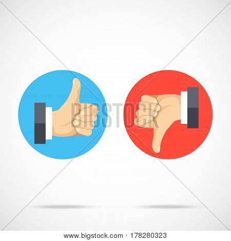 Like and dislike. Round icons set. Hands with thumbs up, thumbs down. Modern flat design graphic elements, flat icons set for web banner, websites, infographics, printed materials. Vector illustration