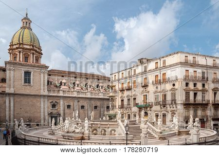Piazza Pretoria Is One Of The Central Squares Of Palermo, Italy