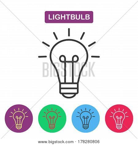 Lightbulb. Isolated line icon pictogram. Buld imaige. Simple thin line icon for websites web design mobile app infographics.