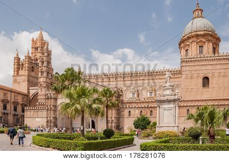 PALERMO ITALY - SEPTEMBER 8 2015: Palermo Cathedral is the cathedral church of the Roman Catholic Archdiocese of Palermo located in Palermo Sicily Italy.
