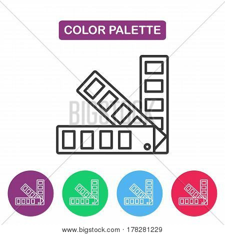 Color palette guide logotype design templates. Color swatch theme. Simple thin line icon for websites web design mobile app infographics.