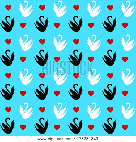 Seamless pattern with a hearts and swans. Vector illustration of black and white swans.