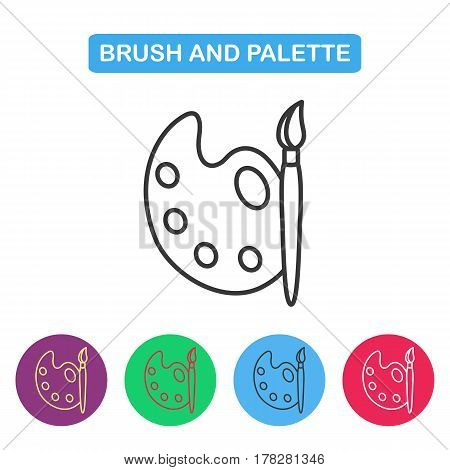Paint brush with palette icon vector. Simple thin line icon for websites web design mobile app infographics.