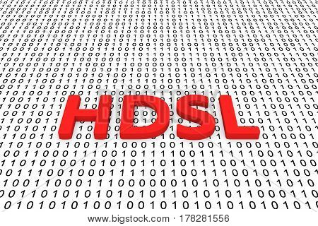 HDSL in the form of binary code, 3D illustration