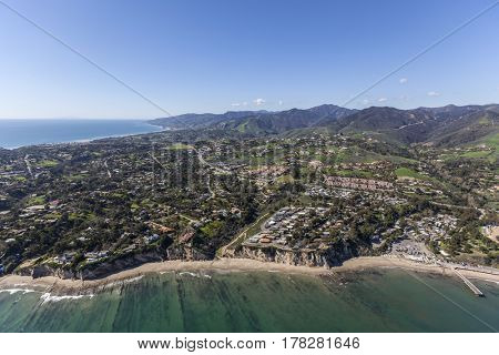 Aerial of ocean view homes near Paradise Cove in Malibu, California.