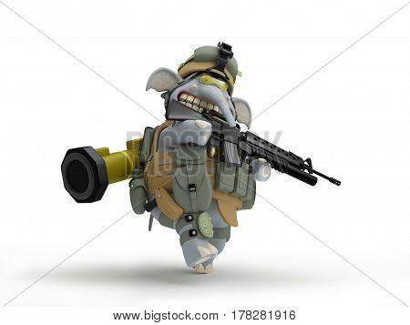 Elephant infantryman walks 3D Illustration in cartoon game style
