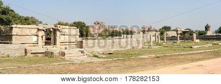Hampi, India - 12 January 2015: Royal fort of Zenana Enclosure at Hampi on India
