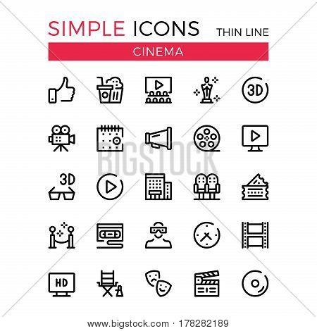 Cinema, filmmaking, cinematography, film production vector thin line icons set. 32x32 px. Line graphic design for websites, web design, mobile app, infographics. Pixel perfect vector outline icons set