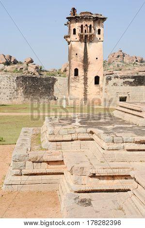 Watch Tower Of Royal Fort Zenana Enclosure At Hampi