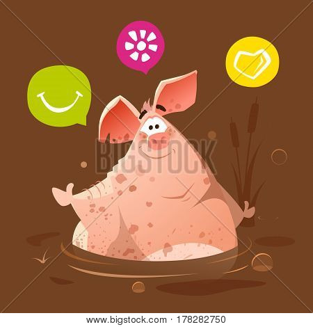 Color vector character of Big fat happy smile dirty pig in dirt swamp mud