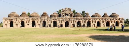 Ancient Ruins Of Elephant Stables At Royal Centre On Hampi