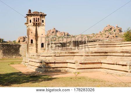 Hampi, India - 12 January 2015: Watch tower of royal fort Zenana Enclosure at Hampi on India