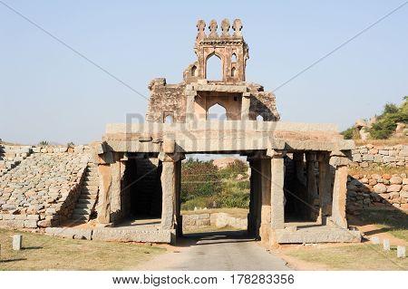 Hampi, India - 12 January 2015: Talarigatta gate at Hampi on India