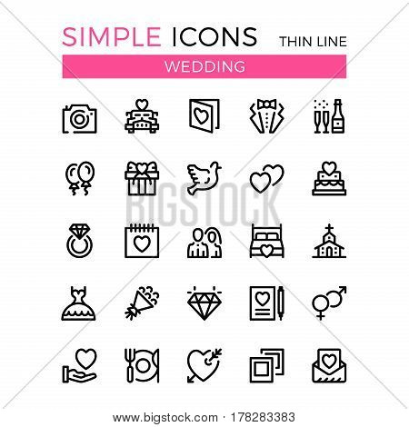Wedding vector thin line icons set. 32x32 px. Modern flat line graphic design linear concepts for websites, web design, mobile app, infographics. Pixel perfect vector outline icons set