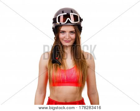 Woman Wearing Ski Suit And Helmet With Goggles