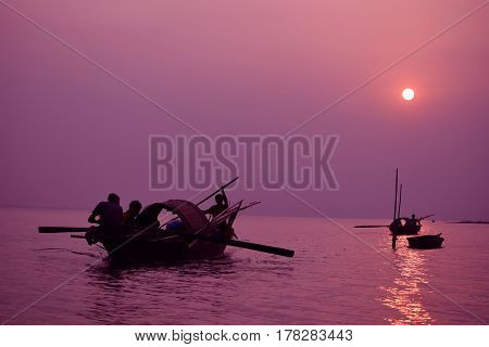 Sunsets at the Mighty Brahmaputra river Assam India