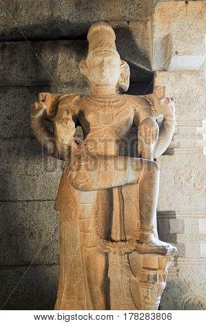 Hampi, India - 12 January 2015: Sculpture of Vittala temple at Hampi on India