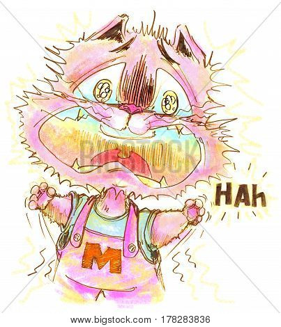 Cat cartoon is agape because he is scared and shocked funny design