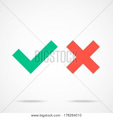 Check marks icons set. Tick and cross checkmarks. Flat design vector illustration