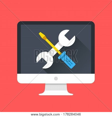 Computer icon with wrench and screwdriver on screen. Computer repair services, technical support concepts. Modern flat design graphic elements. Vector illustration