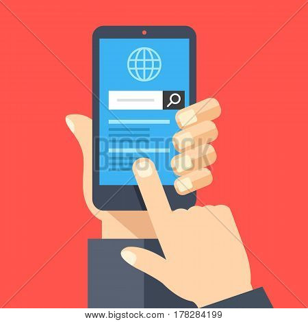Hand holding smartphone with web browser and search bar on screen. Finger touches screen. Mobile internet usage, search on the internet concepts. Flat design vector illustration
