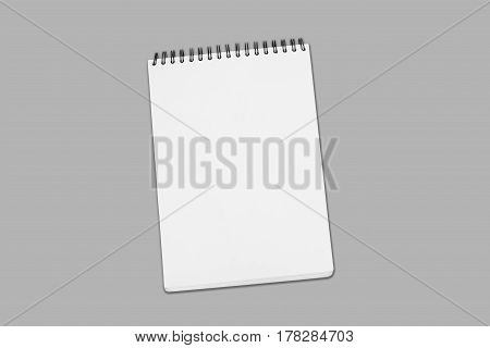 Blank White Spiral Bound Paper Drawing Pad With Shadow Isolated On Grey Background
