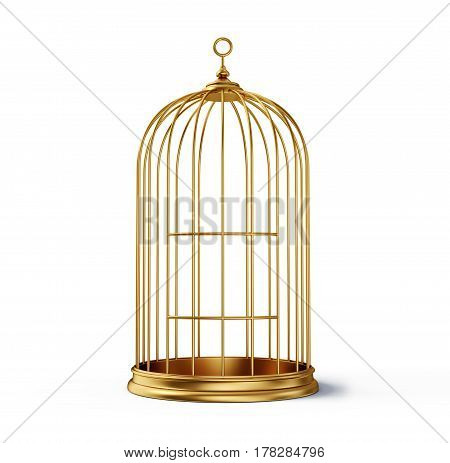 gold cage isolated on a white background 3d illustration
