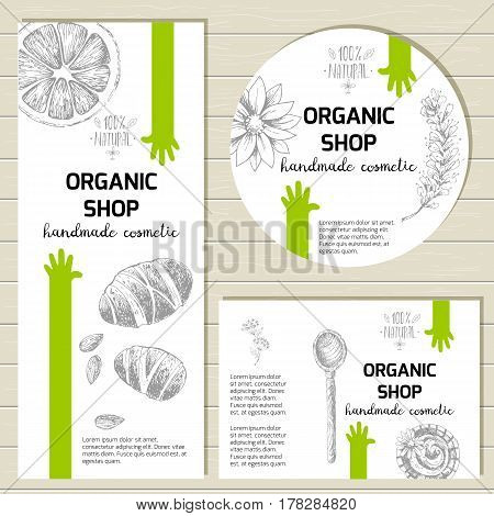 Vector ready design template for organic cosmetic products, handmade natural cosmetics form style. Packaging design vial and jar labels, stickers. Sketchy engraving style, pastel natural colors.