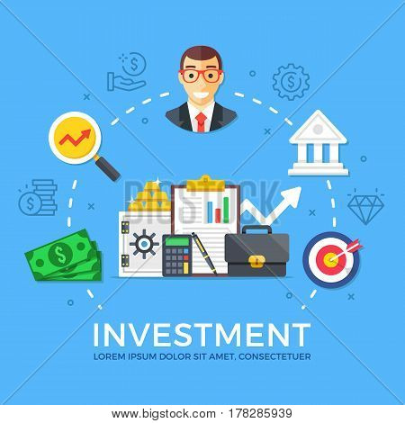 Investment, capital gain. Flat design graphic elements, signs, symbols, line icons set. Premium quality. Modern concept for web banners, websites, infographics, printed materials. Vector illustration