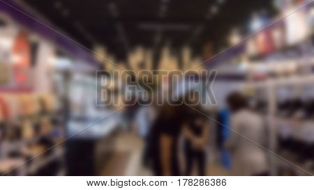 Trade Fair In Exhibition Hall, Booth Selling Cheap Goods From The Manufacturer, Blur For Background