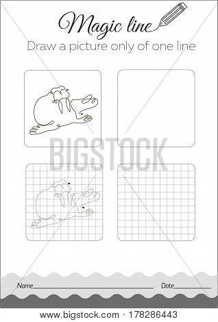 Coloring Book Seal, Walrus Black