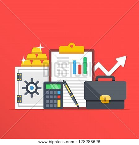 Investment, banking concepts. Safe, gold bars, calculator, clipboard, pen and briefcase flat design graphic elements, flat icons set for web banners, websites, infographics, etc. Vector illustration