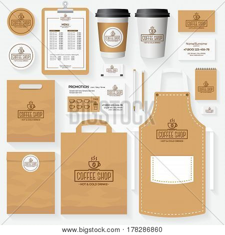 Coffee shop corporate identity template set with cup of coffee logo. Restaurant cafe set card, flyer, menu, package, uniform design set. Vector Illustration