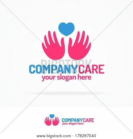 Company care logo set flat color style consisting of nahds and heart for use voluntary and philanthropy organization, medical company, healthy firm etc. Vector Illustration