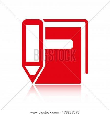 book pencil  icon stock vector illustration flat design