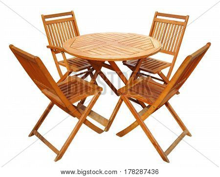 Wooden table and chairs isolated on white with Clipping Path