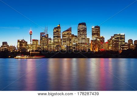 Sydney Central Business District skyline at blue hour dusk. Long exposure