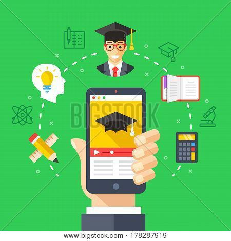 Mobile learning, online education concepts. Hand holding smartphone with online video tutorials. Modern flat design elements, thin line icons set for web banners, websites, infographics. Vector illustration