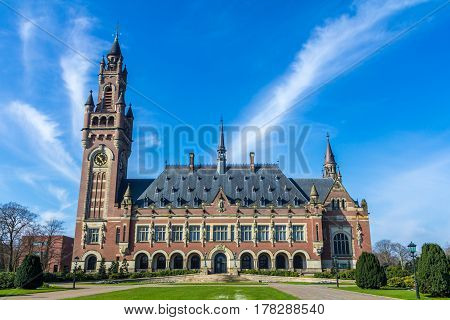 The Hague the Netherlands - March 23 2017: Peace Palace in The Hague