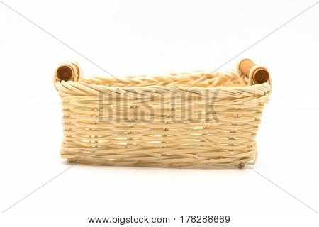 Empty wicker basket wooden fruit or bread basket on white background