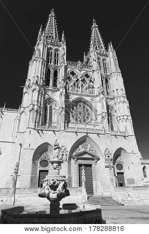 Burgos (Castilla y Leon Spain): exterior of the medieval cathedral in gothic style. Black and white