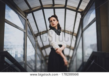 Beautiful Woman In Retro Clothes On Station Platform