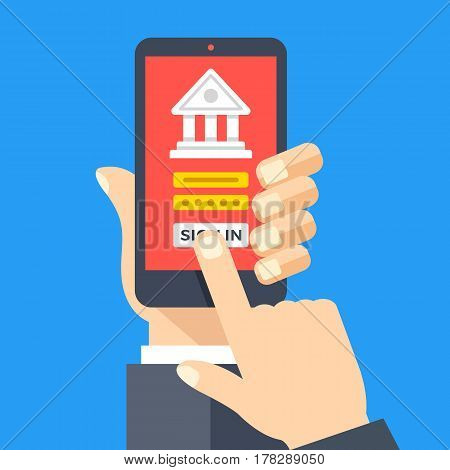 Mobile banking app on smartphone screen. Financial app, online banking, login page concepts. Hand holding smartphone, finger touching screen. Modern flat design graphic elements. Vector illustration