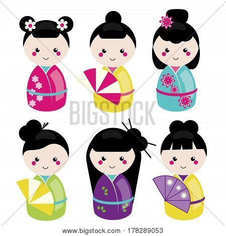 Cute kawaii kokeshi set. Traditional japanese dolls. Stickers design elements icons. Vector set