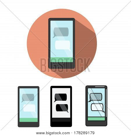 Smartphone icon with text messanger on screen. Phone with speech bubbles. flat isolated design elements