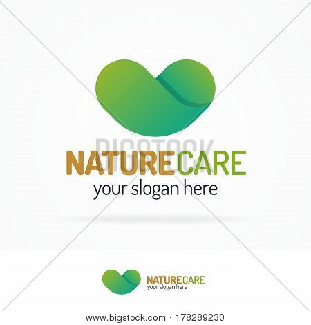 Nature care logo set consisting of green heart flat color style for use save planet company, ecology control, clean energy, healthcare etc. Vector Illustration