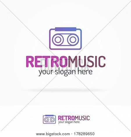 Retro music logo set modern color style isolated on white background for use music store, sound company, audio system shop, dj market etc. Vector Illustration